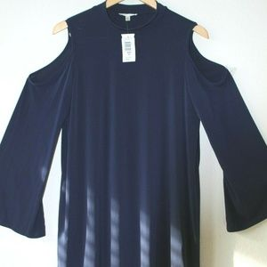 NWT Neiman Marcus Open Shoulder Navy Dress Sz 14